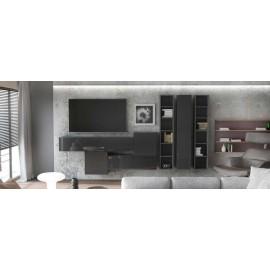 Ensemble de 7  meubles suspendus  noir mat + noir  laqué