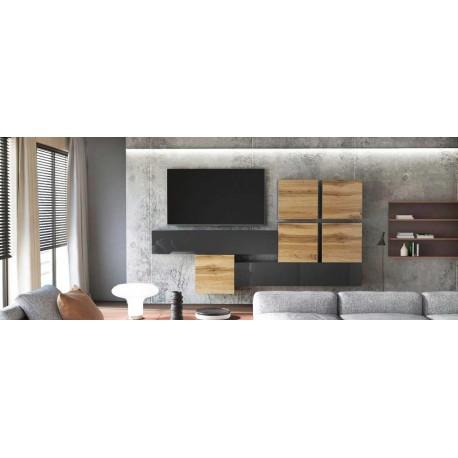 Ensemble de 7  meubles suspendus noir  mat / aspect  chêne wotan +  noir laqué