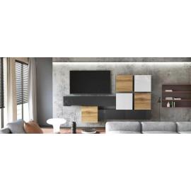 Ensemble de 7  meubles suspendus noir  mat / aspect  chêne wotan + blanc et noir laqué
