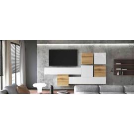 Ensemble de 7 meubles suspendus blanc mat / aspect chêne wotan + blanc laqué