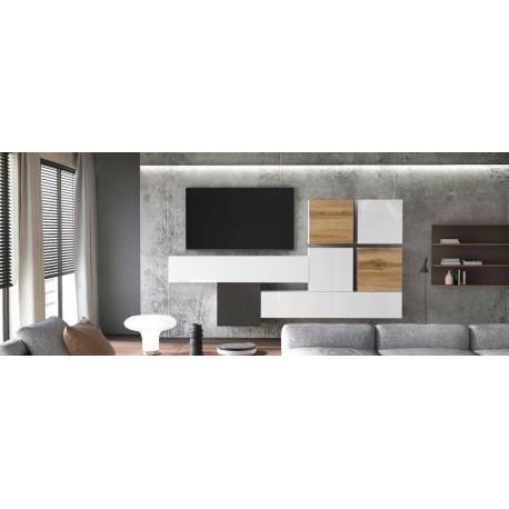 Ensemble de 7 meubles suspendus blanc mat / aspect chêne wotan + blanc et noir  laqué
