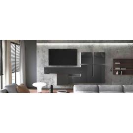 Ensemble de 7  meubles suspendus  blanc mat +  noir laqué