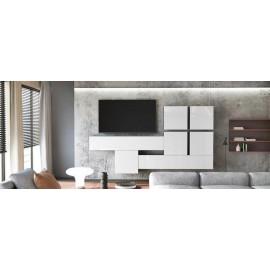 Ensemble de 7 meubles suspendus noir  mat +  blanc  brillant