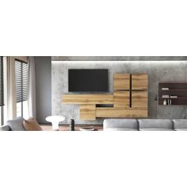 Ensemble de 7  meubles suspendus  noir mat + aspect chêne wotan