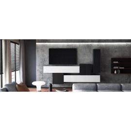 Ensemble de 5  meubles suspendus noir  mat /   noir et blanc  laqué