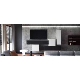 Ensemble de 5  meubles suspendus  blanc mat /   noir et blanc  laqué