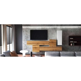 Ensemble de 5  meubles suspendus blanc  mat / aspect  chêne wotan +  blanc laqué