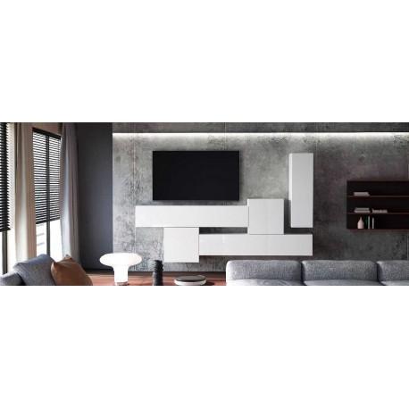 Ensemble de 6 meubles suspendus blanc  mat +  blanc  brillant
