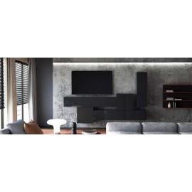Ensemble de 5  meubles suspendus  noir mat + noir  laqué