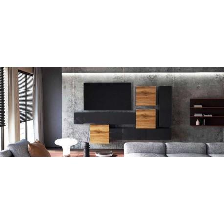 Ensemble de 5  meubles suspendus noir  mat / aspect  chêne wotan +  noir laqué
