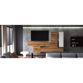 Ensemble de 6  meubles suspendus blanc  mat / aspect  chêne wotan +  blanc laqué