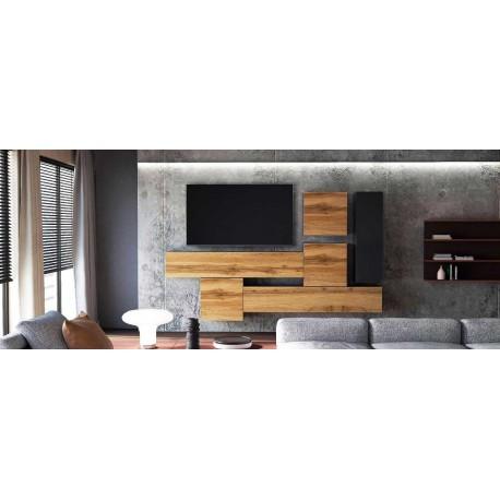 Ensemble de 6  meubles suspendus noir  mat / aspect  chêne wotan +  noir laqué