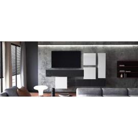 Ensemble de 6  meubles suspendus  blanc mat /   noir et blanc  laqué