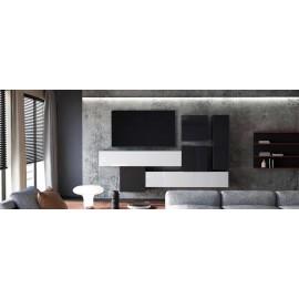 Ensemble de 6  meubles suspendus  noir mat /   noir et blanc  laqué