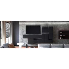 Ensemble de 6  meubles suspendus  noir mat /   noir laqué