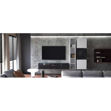 Ensemble de 5 meubles suspendus noir mat / blanc mat + blanc et noir  laqué
