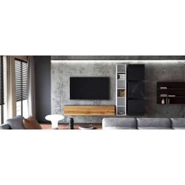 Ensemble de 5  meubles suspendus noir  et blanc mat / aspect  chêne wotan +  noir laqué