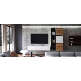 Ensemble de 5  meubles suspendus blanc  et noir  mat / aspect  chêne wotan +  blanc laqué