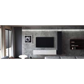 Ensemble de 2 meubles suspendus  noir et blanc mat /  blanc et  noir laqué