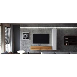 Ensemble de 2 meubles suspendus   blanc mat /  chêne wotan - blanc  laqué