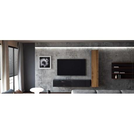 Ensemble de 2 meubles suspendus  noir   mat /  chêne wotan -  noir  laqué