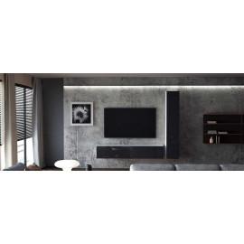 Ensemble de 2 meubles suspendus  blanc mat  /   noir laqué