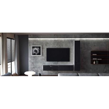 Ensemble de 2 meubles suspendus  noir /  chêne wotan - blanc  laqué