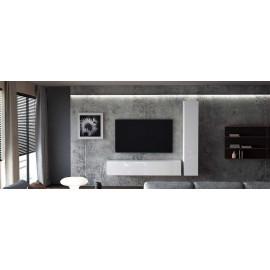 Ensemble de 2 meubles suspendus  blanc mat  /   blanc laqué