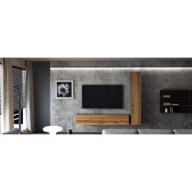 Ensemble de 2 meubles suspendus  noir /  chêne wotan