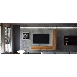 Ensemble de 2 meubles suspendus  blanc /  chêne wotan