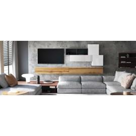 Ensemble de 6  meubles suspendus noir et blanc mat / aspect  chêne wotan +   blanc laqué