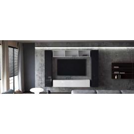 Ensemble de 4 meubles suspendus noir mat / blanc mat + blanc et noir  laqué