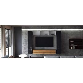 Ensemble de 4 meubles suspendus blanc et noir mat/ noir laqué + chêne wotan