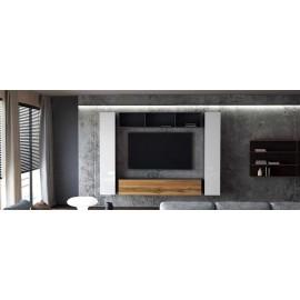 Ensemble de 4 meubles suspendus noir mat / blanc  laqué + chêne wotan