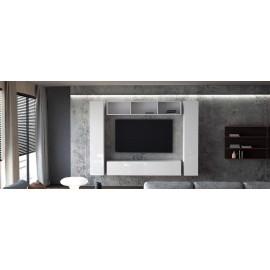 Ensemble de 4 meubles suspendus blanc  mat/ blanc laqué