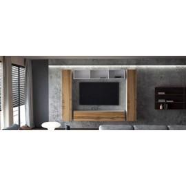 Ensemble de 4 meubles suspendus blanc  /  chêne wotan