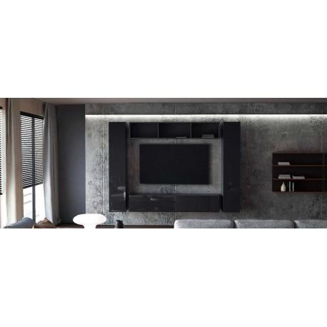 Ensemble de 4 meubles suspendus  noir mat / noir laqué