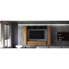 Ensemble de 4 meubles suspendus noir mat   /  chêne wotan