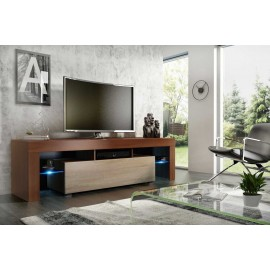 Meuble tv 160 cm noyer / sonoma + led rgb