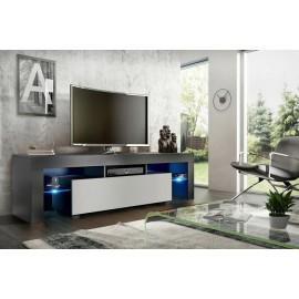 Meuble tv 160 cm noir et blanc mat  led rgb