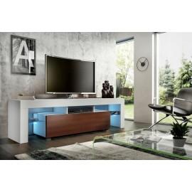Meuble tv 160 cm blanc et aspect noyer + led rgb