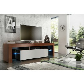 Meuble tv 160 cm noyer/ blanc mat + led rgb