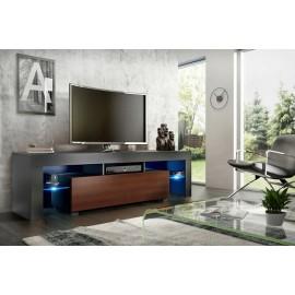 Meuble tv 160 cm noir et noyer + led rgb