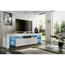 Meuble tv 160 cm blanc mat + led rgb