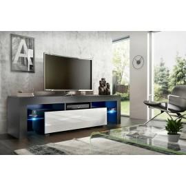 Meuble tv 160 cm noir mat et blanc brillant   led rgb