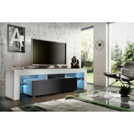 Meuble tv 160 cm  blanc  et noir  mat  led rgb