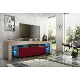 Meuble tv 160 cm  sonoma et bordeaux brillant led rgb