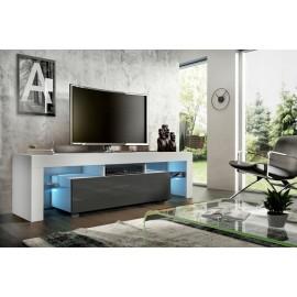 Meuble tv 160 cm  blanc  et gris brillant  led rgb
