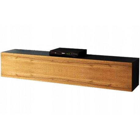 Meuble suspendu noir et aspect chêne  wotan 160 x 30 x 32 cm