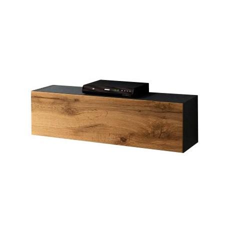 Meuble suspendu noir  et aspect chêne wotan105 x 30 x 32 cm